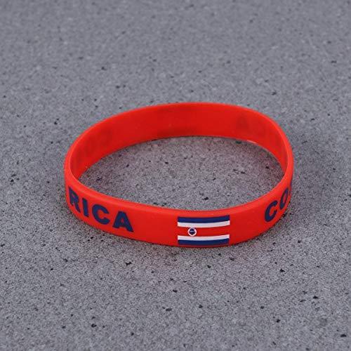 GNXIA Home Tuersuer Hochzeit Festival Party Dekoration Land Silikon Armband 2018 World Cup Sport Fußball Armband für Russland 2018 FIFA World Cup Party 6 STÜCKE (Costa Rica) (Land Hochzeit Dekorationen)