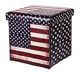 Onsia24 Polsterhocker Wäschebox Utensilienbox USA Amerika Sitzhocker Hocker Faltbar mit Stauraum 40 Liter Aufbewahrungsbox