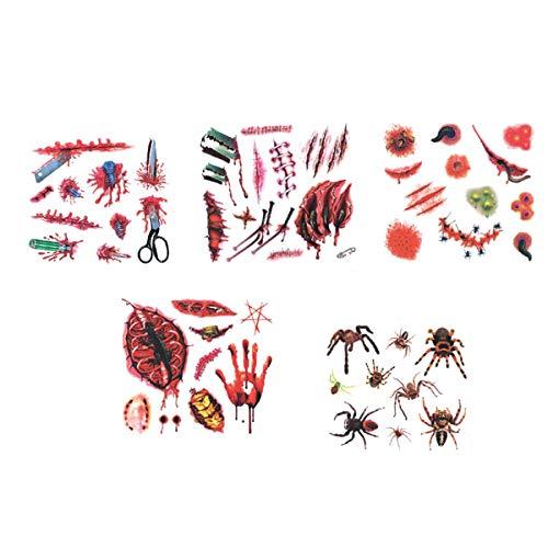 BESTOYARD Halloween Tattoo Aufkleber Wasserdicht Temporäre Tattoo Aufkleber Gefälschte Blutige Wunde Stich Narbe Scab Make-up Maskerade Requisiten 5 STÜCKE