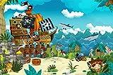 Piraten Schiff Kinder Hai Meer XXL Wandbild Kunstdruck Foto Poster P0794 Größe 120 cm x 80 cm, Größe 120 cm x 80 cm