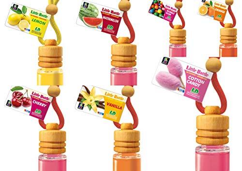 7 Little Bottle Duftflakons für Auto + Wohnung BESTSELLER TESTPAKET Je 1 x Bubble Gum, Kirsche, Cotton Candy - Zuckerwatte, Lemon - Zitrone, Orange,Pina Colada, Wassermelone.