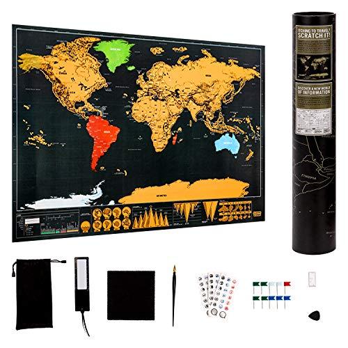 LUTER Mappa del Mondo da Grattare Mappamondo Cartina Geografica Mondo Scratch World Map per Viaggio e Istruzione con Molti Accessori