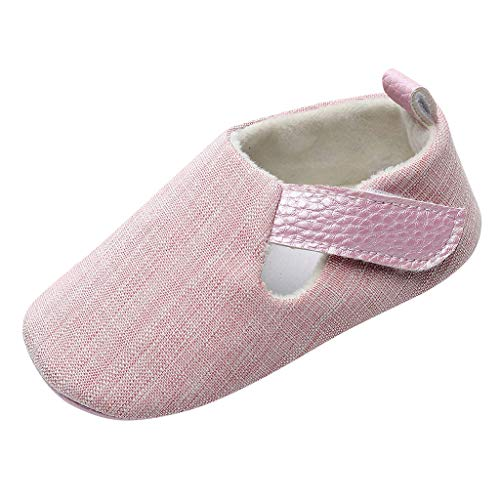 Precioul Neue einfarbige Babyschuhe mit Klettverschluss rutschfestes Kleinkind beschuht Babyschuhe Pink, Grau, Khaki, Braun, Blau -