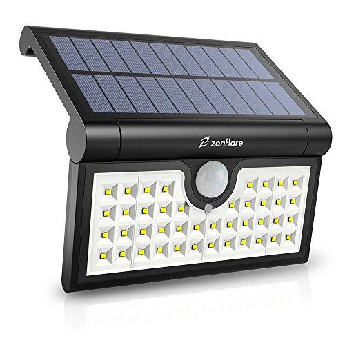 Zanflare lampe de sécurité de détecteur de mouvement à l`énergie solaires, 42 LED lumières murale solaires, lumière extérieure imperméable sans fil pour le jardin, barrière, patio, cour, allée, allée, escaliers, mur extérieur.