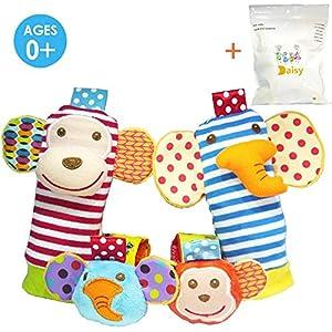 Deardeer 4 x Baby Infant Soft Toy Animal Wrist Rattles Hands Foots Finders Developmental Toys