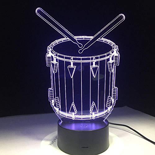 MGQSS 3D Illusionslampe 16 farben Kind Trommel Weihnachten Geschenk 3D Optische Täuschung Nachtlicht Acrylplatte Berühren Sie FernbedienungSchlaf leicht Skulptur Lampe Babyzimmer Junge Mädchen Schlafz
