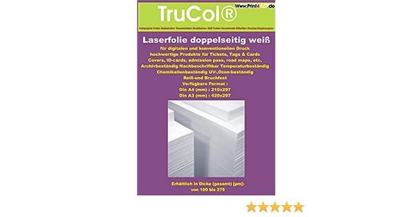 Kopierer Folie Pr/äsentationsfolie 100my DuraCopy Doppelseitig 10x DIN A4 wei/ße beidseitige REI/ßFESTE schmutzabweisende chemikalienbest/ändige UV und ozon best/ändige Farblaser Laserdrucker