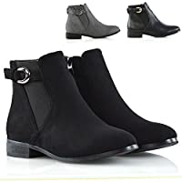 Womens Ankle Boots Elasticated Gusset Ladies Buckle Chelsea Biker Casual Booties Shoes Size 3-8
