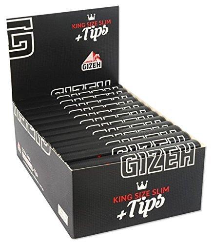 Gizeh 15558 schwarzes langes Papier plus Tips King Size Slim, 26 Heftchen mit 34 Blättchen, 14 g/m2 -