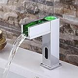 Bunt Automatisch Wasserfall Becken Wasserhahn mit Temperatur Infrarot Berührungslos Sensor Chrom Überzogen Wasserhahn mit LED Licht von Mag.AL