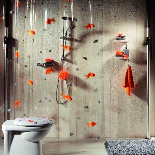 spirella-cortina-de-bano-goldfish-naranja-180x200