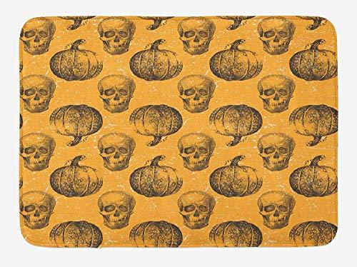 ASKYE Pumpkin Bath Mat, Halloween Themed Skulls and Pumpkins Scary Holiday Celebrations Worn Image, Plush Bathroom Decor Mat with Non Slip Backing, 23.6 W X 15.7 W Inches, Pale Orange Black (Pizza Mad Halloween)