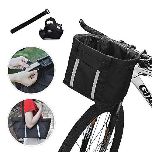 ANZOME Fahrradkorb, Faltbar Fahrrad vorne Korb, mit Lenkeradapter und Kabelbinder, Easy Install Abnehmbare Lenkerkorb Tasche für Kleiner-Hund-Einkaufen-Picknick, 33 x 22 x 25 cm