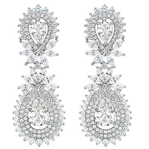 EVER FAITH® Women's CZ Marquise Shape Leaf Double Teardrop Dangle Earrings Clear Silver-Tone
