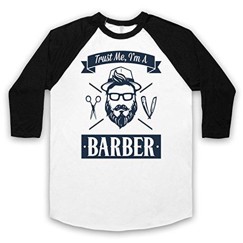 Trust Me I'm A Barber Funny Work Slogan 3/4 Hulse Retro Baseball T-Shirt Weis & Schwarz