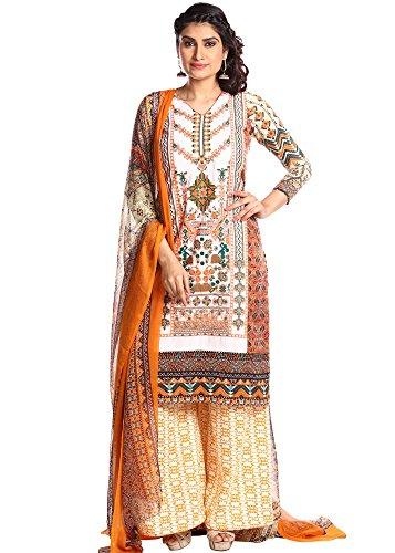 BH FASHION Multi Crepe Semistitched Salwar Suit(KF-1511_Multicolored_Freesize)