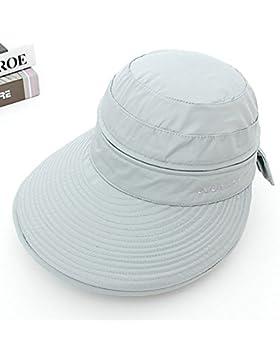 Las mujeres anti UV Verano amplia Visera plegable Brim Bowknot Zip Sun Beach Golf Hat Cap ,gris HNAA