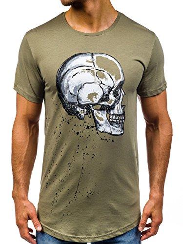 BOLF Herren T-shirt Tee Kurzarm Rundhals Unifarben Slim Fit Print 3C3 Motiv Grün
