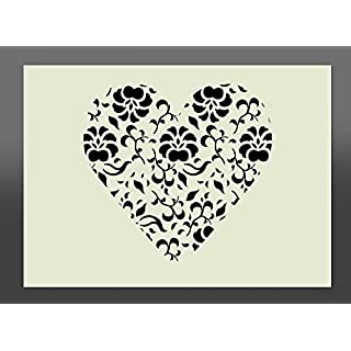 Shabby Chic Heart Mylar Stencil A4 297x210mm Wall Art, Furniture Stencil, Fabric Stencil