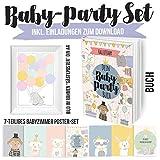 Das große Baby-Party Geschenkset mit Erinnerungsalbum inkl. Einladungskarten und Postern zum Download - Gästeposter in weissem Rahmen in DIN A4 und einem 7-teiligen Babyzimmer Posterset