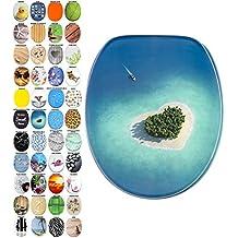 Sedile WC con chiusura ammortizzata, grande scelta di belli sedili WC da legno robusto e di alta qualità (Isola da sogno)