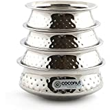 Coconut Stainless Steel Hammered Golconda Kadai Set Of 4-200ML, 300ML, 400ML & 500 ML