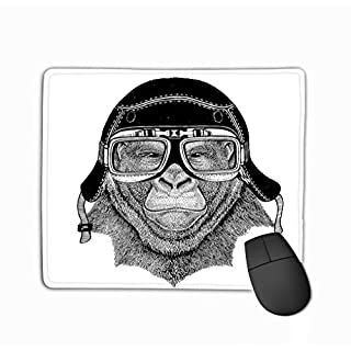 Family Mouse Pad,Standard Size Rectangle Non-Slip Rubber Mousepad 11.81 X 9.84 Inch Vintage Images Gorilla Monkey Design Motorcycle Bike Motorbike Scooter Club aero Club Hand Drawn Image