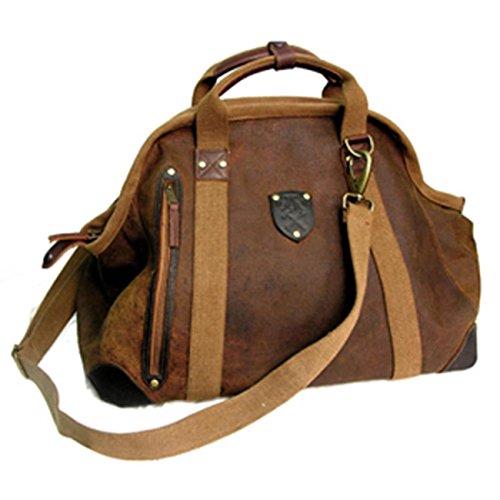 Reisetasche aus Leder in braun mit Reißverschluss und Schultergurt, extra Fächern innen wie aussen Braun