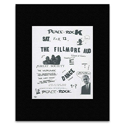 Stick It On Your Wall The Great Society Mini-Poster Peace Rock Fillmore Auditorium San Francisco 1966 (überarbeitete Version), 25,4 x 20,3 cm -
