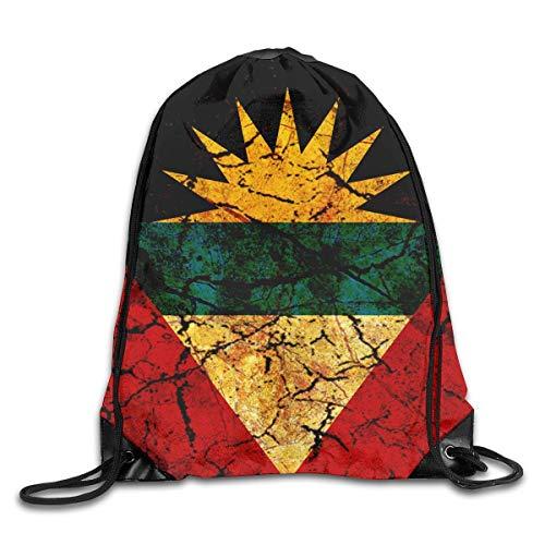 Naiyin Vintage Antigua and Barbuda Flag Drawstring Backpack Bag Rucksack Shoulder Sackpack Sport Gym Yoga Runner Beach Hiking Dance -
