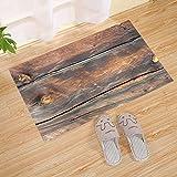 Felpudo de fondo de textura de tablón de madera, tapete grande, marrón, tapete de la puerta delantera | Listones hechos a mano de madera reciclada de plástico reciclado hechos a mano - Entrada ecológi