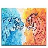 Acuarela Animales Hielo Y Fuego Tigre Pintura Al Óleo Digital Bricolaje Por Números Tigre Abstracto Para