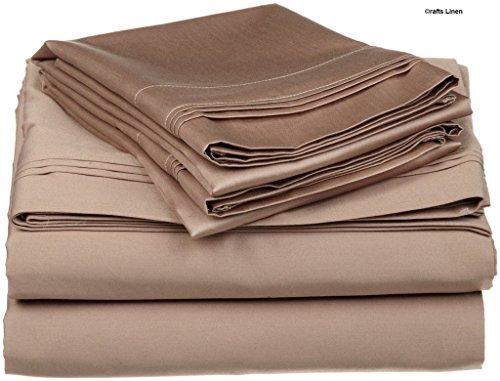 Crafts Linen Egyptian Cotton 400-thread-count Sateen King singolo, 4pezzi Set (+ 18cm) Pocket Depth, taupe solido