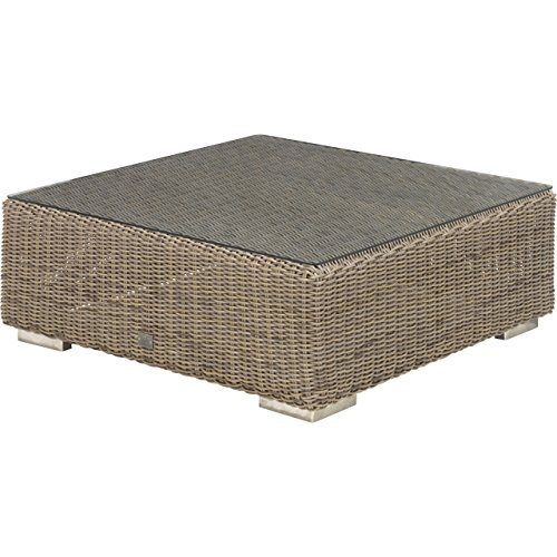 4Seasons Outdoor Kingston Kaffeetisch 95 x 95 cm Polyrattan pure inkl Glasplatte