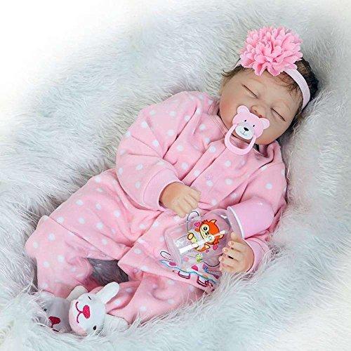 Yesteria Reborn Baby Doll Niña Mirar Real Lifelike Niñita Bebé Siliconas Ojo Cerrado Rosa Equipo 55 cm