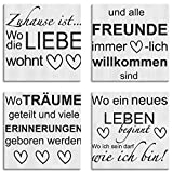 Artland Leinwandbilder auf Holz Wandbild Bild Set 4 teilig je 20x20 cm Quadratisch Bilder mit Sprüchen Schrift Kunst Spruch Grau Liebe J4WJ