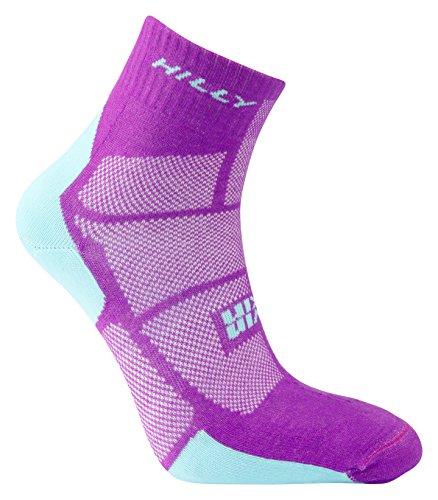HILLY Damen Twin Skin Fußkettchen Laufsocken Medium Purple/Aquamarine - Absolute Skin Recovery