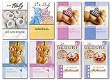 50 Glückwunschkarten Zum Baby Zur Geburt Kinder 8 Motive Grußkarten 31-2060