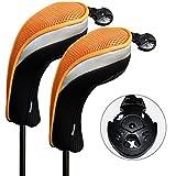 Andux 2 Packung Hybrid golf Schlägerkopfhüllen Golf Eisen deckt Eisenhauben austauschbar Nr. Etikett MT/hy07 schwarz/orange