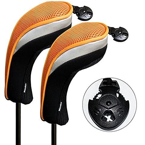 2pcs Andux couvre de tête du club de golf hybride noir et orange interchangeables NO.. tag MT/hy07