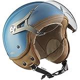 SOXON SP-325-MONO Crystal Blue Casque Jet Vespa Helmet Vintage Chopper Moto Bobber Mofa Demi-Jet Biker Scooter Cruiser Retro Pilot, ECE certifiés, compris le pare-soleil, compris le sac de casque, Bleu, XS (53-54cm)