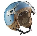 SOXON SP-325-MONO Crystal Blue Roller-Helm Pilot Biker Cruiser Vintage Chopper Retro Jet-Helm Helmet Bobber Vespa-Helm Scooter-Helm Mofa Motorrad-Helm, ECE zertifiziert, inkl. Sonnenvisier, inkl. Stofftragetasche, Blau, XS (53-54cm)