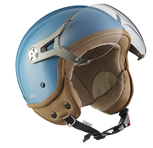 SOXON SP-325-MONO Crystal Blue · Vespa Bobber Casco Demi-Jet Scooter