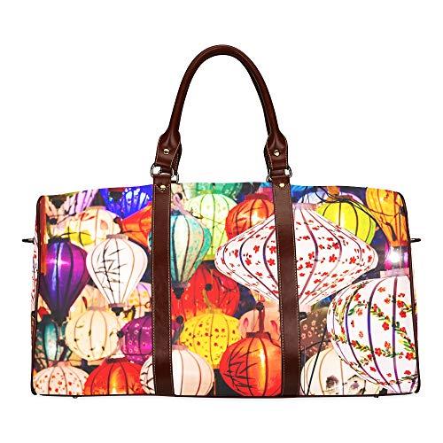 Reise-Seesack Bunte chinesische rote Laterne wasserdichte Weekender-Tasche Übernacht-Tragetasche Handtasche für Damen Damen-Einkaufstasche mit Mikrofaser-Leder-Gepäcktasche