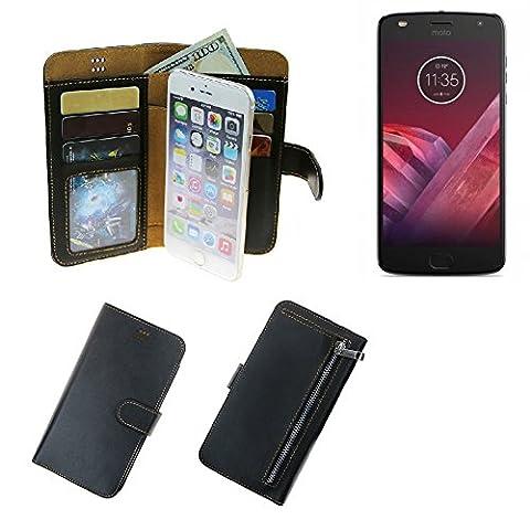 étui portefeuille poche protecteur pour Motorola Moto Z2 Play, noir | housse pouchette de protection Smartphone coque - K-S-Trade (TM)