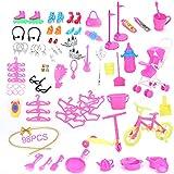 NiceButy 98pcs / Set Completo Bambola Accessori Kit Tacchi Alti Attrezzature da Cucina Pulizia Gli Attrezzi Abbigliamento Accessori per Barbie Giocattolo di Divertimento per i Bambini