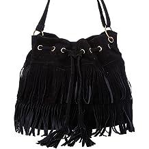 Lmeno Sac a main Épaule Femmes Haute qualité de mode Gland Désinvolte Sac à Main Fringe Tassel Bag Faux Suede Messenger Sac bandoulière--Noir