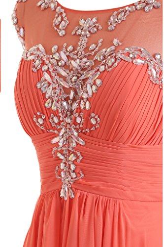 Gorgeous Bride Festlich Lang A-Linie Chiffon Tuell Applikation Abendkleider Festkleider Ballkleider Dunkelwassermelone