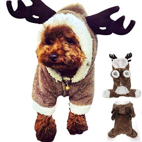 Lomire Weihnachten Rentier Hundebekleidung,Rentier Hirsch Elch Design Hund Kleidung Haustier Kostüm Welpen Trikots Outwear Mantel für Teddy, Yorkshire Terrier, Chihuahua, Pommern (L)