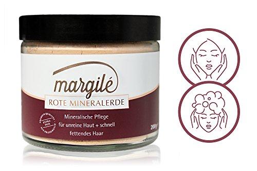 margilé rote Mineralerde – Reines Montmorillonit Tonerde Pulver – Peeling, Maske & Wascherde für unreine Haut und Haare